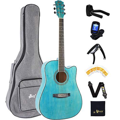 Winzz 4/4 Akustikgitarre Blau, 41 Zoll Westerngitarre Anfänger Erwachsene