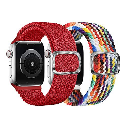 Coholl Solo Loop - Correa de repuesto para Apple Watch (38 mm, 40 mm, 42 mm, 44 mm, 2 unidades, nailon elástico), 42mm/44mm,