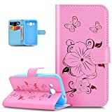 Galaxy Core Prime móvil, Galaxy Core Prime Funda, Galaxy Core Prime Funda de piel, ikasus® Goldene Glitter relieve Embossing Mariposas Flores Butterfly Floral Series Book Type Slim Fit Soft Silicona c
