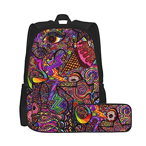 Mochila de viaje para niñas y niños, con estuche de lápices colorido Star Rainbow Line Spirit Art, ligera y antirrobo, mochila para portátil con correa suave
