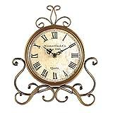 POHOVE - Sveglia vintage in ferro da stiro, orologio da tavolo da tavolo, funzionamento a batteria, per decorare il soggiorno, stile classic