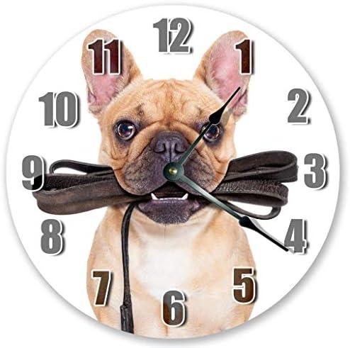 Sugar Vine Art 10 5 French Bulldog Biting It s Leash Portrait Clock Large 10 5 Wall Clock Home product image