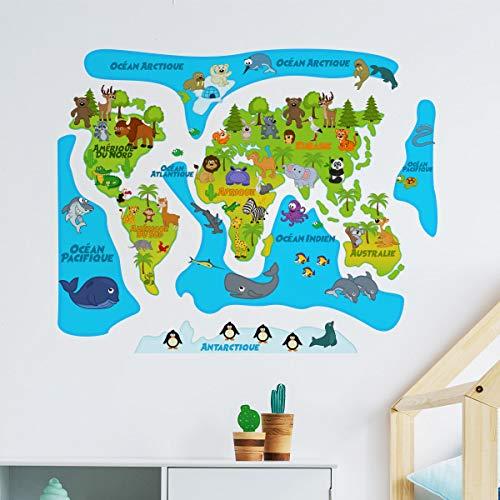 Stickers wereldkaart | wanddecoratie kinderkamer 60x70cm Model 8