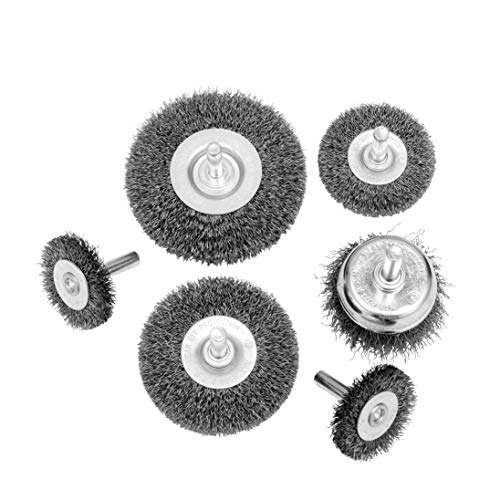 HOYIN 6Piece Wire Wheel Cup Brush Set|Coarse Crimped Carbon Steel|1/4In Round Shank|for Drill