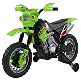 Homcom Moto Cross électrique Enfant 3 à 6 Ans 6 V phares klaxon musiques 102 x 53 x 66 cm Vert et Noir