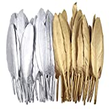 Natural Feathers Gold Silver Goose Feathers for Art Craft Wedding Party Decoration Clothing Accessories, 50 Pcs (Gold and Silver)