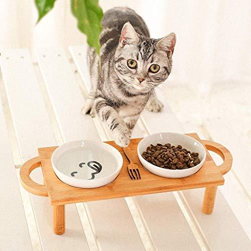 Taihang Doppelte Keramik-Trinkschale Bambus-Regal Katzenfutter Hundefutter Pet Supplies