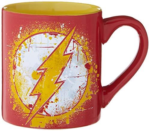 Silver Buffalo DC Comics Flash Splatter Paint Logo Ceramic, 14-Ounces...
