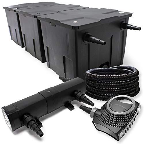 Filter Set aus Bio Teichfilter bis 90000l UVC Klärer mit 24W 80W Pumpe und 25m Schlauch
