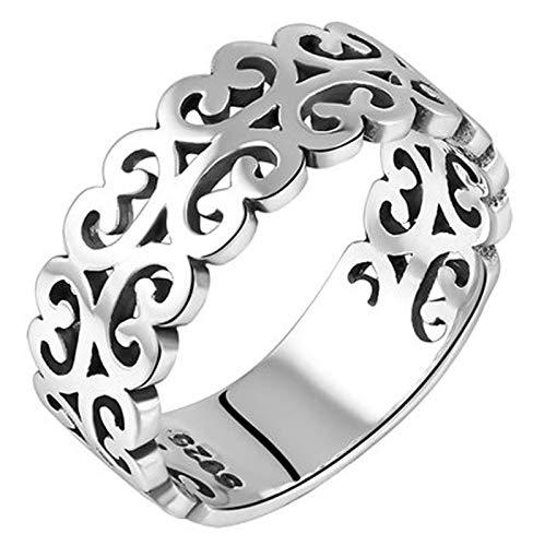 LIMUZHI Anillo de plata de ley 925 con patrón auspicioso, moda punk, índice, regalo de boda, novio, 10-20, tamaño 17#