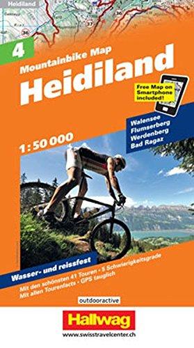Heidiland Mountainbike-Karte Nr. 4, 1:50 000: Walensee, Flumserberg, Werdenberg, Bad Ragaz,Mit den schönsten 44 Touren, 5 Schwierigkeitsgrade, Mit ... GPS tauglich, Free Map on Smartphone included
