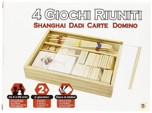 Teorema 40118 - Set di 4 Giochi, Shangai, Dadi, Carte, Domino