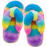 Kids Flip Flop Slippers Soft Plush Fuzzy House Home Thong Slippers for Boys and Girls Open Toe Indoor Outdoor Warm Comfy Slip On (2.5-3, Rainbow Stripe, numeric_2_point_5)