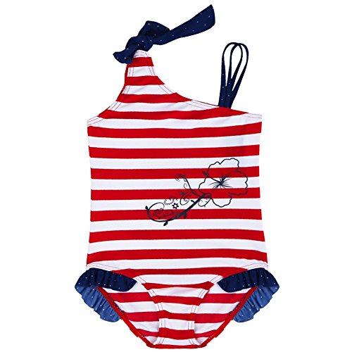 iiniim 1 pc Enfants Fille Maillot De Bain Rayé Costume Bikinis Plage 1-8 Ans (4-5 Ans, Rouge)