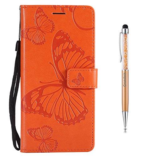 Grandoin Redmi Note 4X Hülle, Handyhülle im Brieftasche-Stil für Xiaomi Redmi Note 4X Handytasche PU Leder Flip Cover Schmetterling Muster Design Premium Book Case Schutzhülle Etui Case (Orange)