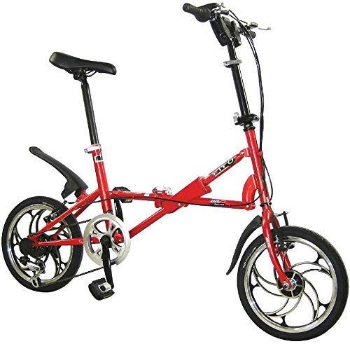 HAOT Zusammenklappbares Fahrrad-zusammenklappbares Auto 16-Zoll-V-Bremsgeschwindigkeitsrad Erwachsenes Kinderfahrrad Studentenfahrrad, Schwarz (Farbe: Rot)