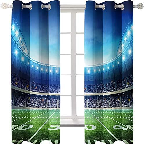 AMDXD 2 Paneles Cortinas Poliester Habitacion, Cortinas de Ventanas de Salon Estadio Cortinas Decoradas, Azul Verde, 274x214CM