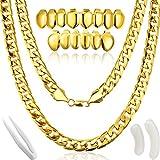 Gejoy Hip Hop Rapper Kostüm, Faux Gold Kette Halskette Klumpig Halskette mit Vergoldeten Gold für Mund Top Unterseite Hip Hop Zähne , 80/ 90s Punk/ Hip Hop/ Rapper Kostüm -