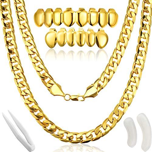 Disfraz de Rapero de Hip Hop, Collar de Cadena de Oro Falso Collar Grueso con Parrillas Plateadas para Boca Top Parrillas de Dientes para Boca, Disfraz de Punk de Años 80 90 Hiphop Rapero