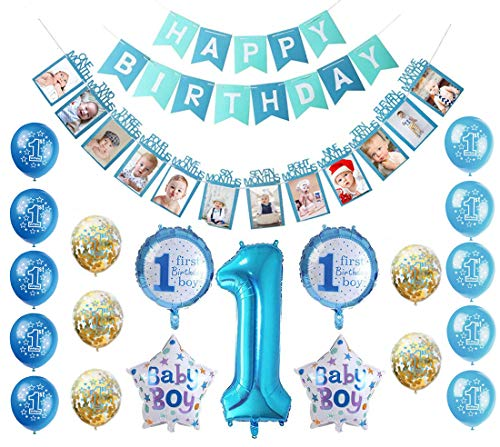 Pancartas de Banderines de Happy Birthday,12 Meses Foto Guirnalda,1er Cumpleaños Bebe Globos,Banderines de Happy Birthday,Banner de Feliz Cumpleaños Bebe Niño,Globos con Forma de Estrella