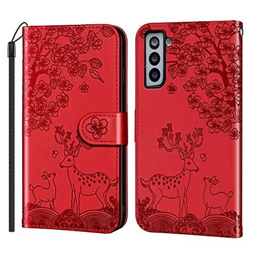 Coque pour Samsung Galaxy S21 6.2inch Portefeuille, Housse en Cuir avec Porte Carte Fermeture par Rabat Aimanté Antichoc Étui Case pour Samsung Galaxy S21 - DERX020278 Rouge