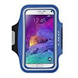 J&D Armband Compatible for Galaxy Note 4 Armband, Sports Armband with Key Holder Slot for Samsung Galaxy Note 4 Running Armband, Perfect Earphone Connection While Workout Running - Blue