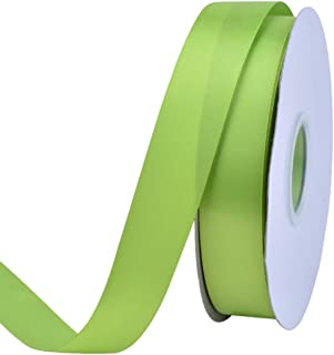 Ribest 1 inch 50 Yards Solid Double Face Satin Ribbon Per Roll for DIY Hair Accessories Scrapbooking Gift Packaging Party Decoration Wedding Flowers Apple Green
