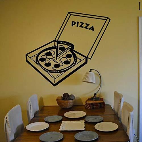 WERWN Etiqueta engomada de la Pizza de la Cocina de la Moda Creativa Etiqueta engomada de la Pared del Arte del Vinilo de la Comida Etiqueta engomada Decorativa de la Pared de la Pizza