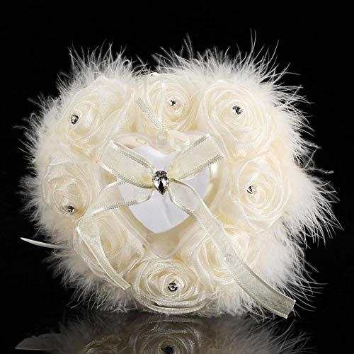 Almohada de anillo de plumas de avestruz con diamantes de imitación de tacto suave en forma de corazón Almohada de anillo de corazón Accesorio de boda Accesorios para fotos Decoración de(Ivory, Big)