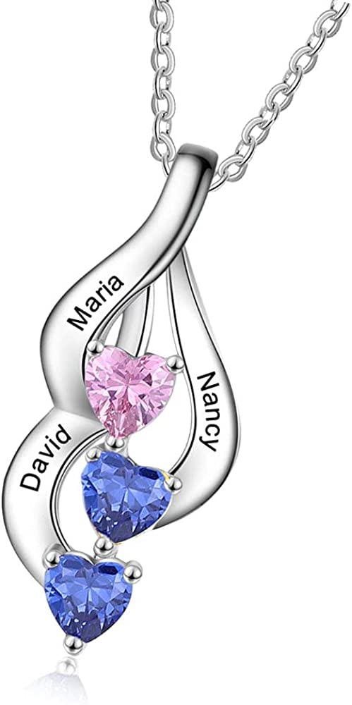 Personalized Mother Daughter Necklace with Max 49% OFF Simulated Bir 3 Fashion Heart