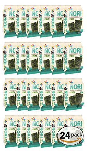 KIMNORI Seasoned Seaweed Snacks Sheets – Organic Sea Salt Flavor 24 Individual Packs Roasted Crispy Premium 100% Natural Laver Kim Nori 4g 0.14 Ounce 김 のり 海苔 紫菜
