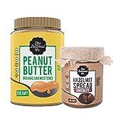 Peanut Butter Organic Unsweetened 1Kg & Chocolate Hazelnut Spread Creamy 200 gm Pack of 2 (No Added Sugar Vegan High Protein Keto)