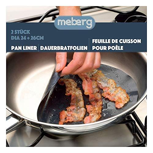 meberg NOSPL01 Pfannen-Folie Antihaft 2er Set (24 und 26 cm Durchmesser) Pfannenschutz Braten ohne Fett Bratfolie rund