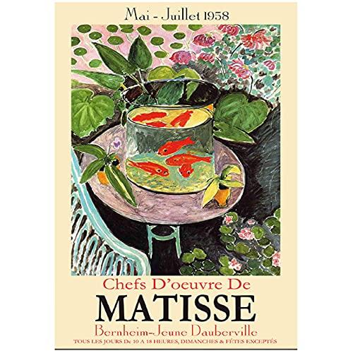 Pecera colorida abstracta Matisse Poster Wall Art Print lienzo pintura cuadros de pared para sala de estar decoración única para el hogar-24x36 pulgadas sin marco
