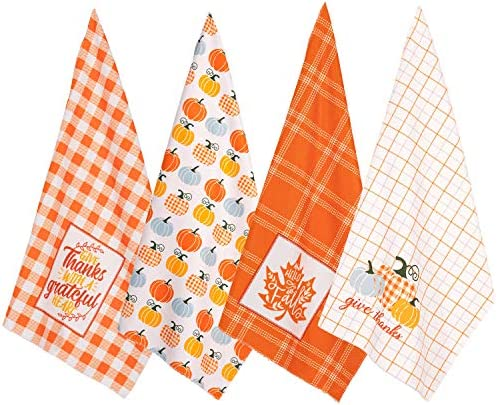 Whaline 4 Pack Thanksgiving Kitchen Towel Fall Harvest Dish Towel Super Absorbent Pumpkin Maple product image