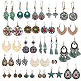 Boho Earrings for Women Girls, Funtopia 24 Pairs Bohemian Drop Dangle Earrings Set, Retro Statement Vintage Earrings Alloy Long Pendant Earrings