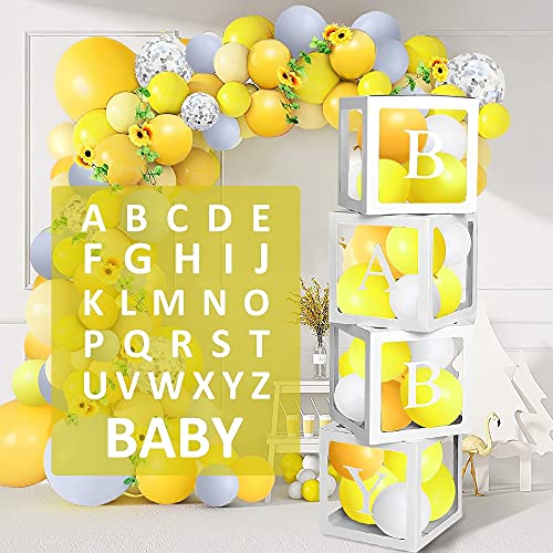 Cajas de globos transparentes con 30 letras (A-Z + bebé) – Decoración fiesta de baby shower cajas transparentes cumpleaños boda aniversario fiesta decoración género revelación caja para globos