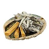 Jiri & Friends, kit Smudge, salvia bianca, Palo Santo e conchiglia Abalone, commercio equosolidale, set per affummicatura