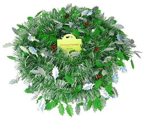 Christmas Concepts 3m / 9.8ft Orpello di Natale Grosso/fine - Decorazioni Natalizie - Tinsel di Alta qualità (Bacca di Agrifoglio Verde e Argento)