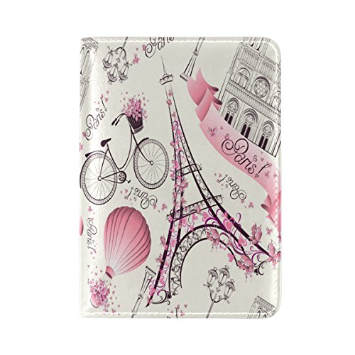 Pink France Eiffel Tower Bicycle Genuine Leather Passport Covers Holder Case Protector (Eiffel Tower02)