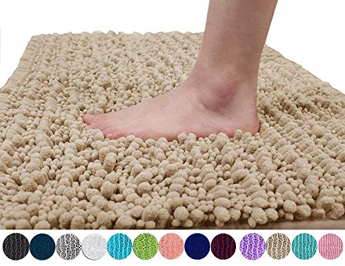 Yimobra Original Luxury Shaggy Bath Mat, Soft and Cozy, Super Absorbent Water, Non-Slip, Machine-Washable, Thick Modern for Bathroom Bedroom (24 x 17 Inch, Beige)