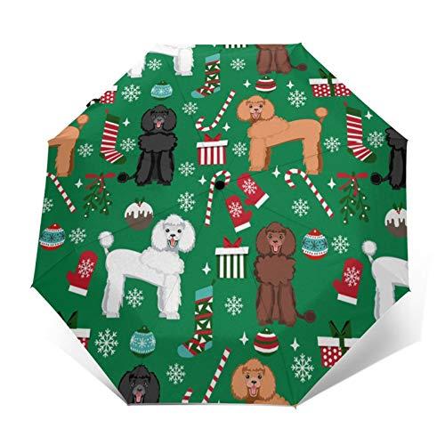 Caniche Navidad perro perro de vacaciones – verde automático abrir/cerrar paraguas portátil triple plegable impermeable durable paraguas plegable