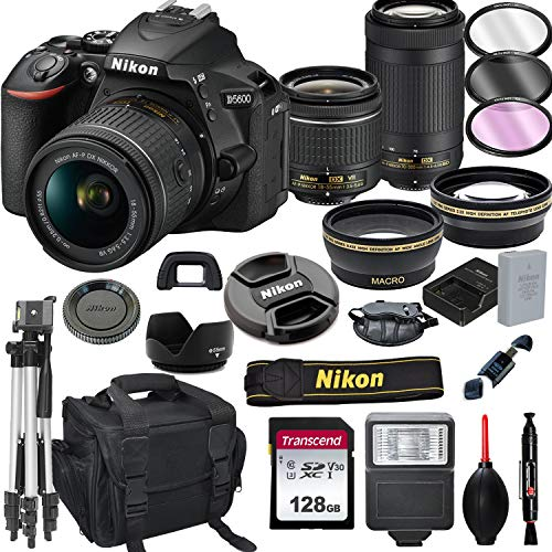 Nikon D5600 DSLR Camera with 18-55mm VR and 70-300mm Lenses + 128GB Card, Tripod, Flash, ALS Variety Lens Cloth, and More