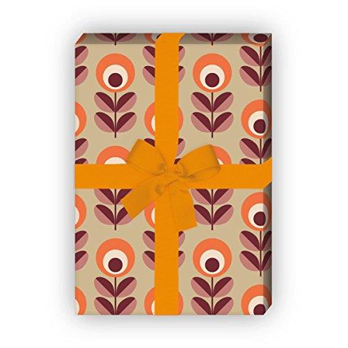 Retro Blumen Geschenkpapier im 70er Jahre Stil für liebe Geschenkverpackung, DIY Bastel Projekte (4 Bogen, 32 x 48cm), orange beige