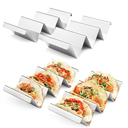 Taco Holders 4 Packs  Stainless Steel Taco Stand Rack Tray Style by Artthome Oven Safe for Baking Dishwasher and Grill Safe