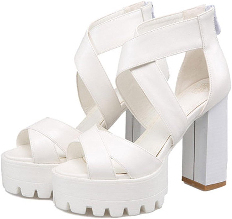 XUERUI Summer New Open-Toe Sandals Platform Comfort Waterproof Platform Super High Heels (Size   EU38 UK5.5 CN38)