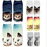MIWNX 5 Pares Cute Cartoon 3D Printed Women Socks Calcetines de Tobillo Cat Socks