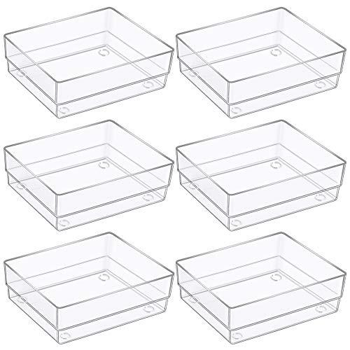 Kootek Desk Drawer Organizer Modular Plastic Bins Drawer Dividers Makeup Organizers Trays Customize Layout Storage Box for Bedroom Dresser Bathroom Kitchen Office, 6 Pack