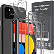 LK [6 Pack] 3 Pack Screen Protector for Google Pixel 5 + 3 Pack Camera Lens Protector, Anti-Scratch, Easy-Installation Tool, Tempered Glass 9H Hardness for Google Pixel 5