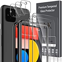 6 Pack LK 3 Pack Screen Protector + 3 Pack Camera Lens Protector Compatible with Google Pixel 5, Tempered Glass, Easy Frame Installation, HD Ultra-Thin